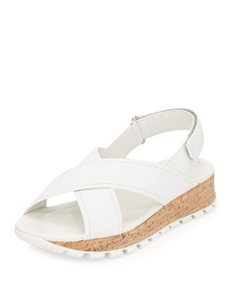 Crisscross Cork Wedge Sandal, Bianco