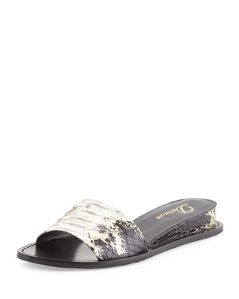 Megan Internal-Wedge Sandal, Black/Platino