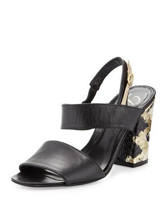 Adria Block-Heel Sandal, Black/Platino