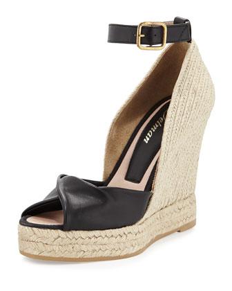 Femme Espadrille Wedge Sandal, Black
