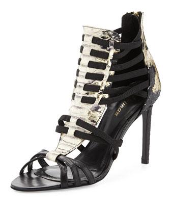 Jacey Snake-Embossed Huarache Sandal, Black/Platino