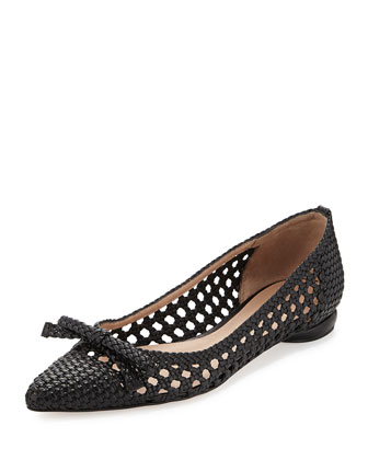 Shana Woven Leather Flat, Black