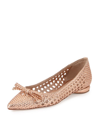 Shana Woven Leather Flat, Rose Gold