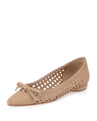 Shana Woven Leather Flat, Sahara