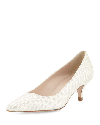 Minu Kitten-Heel Pump, Soft Gold