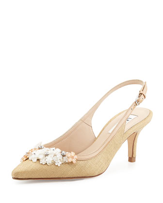 Carrie Beaded Raffia Pump, Natural/Ivory