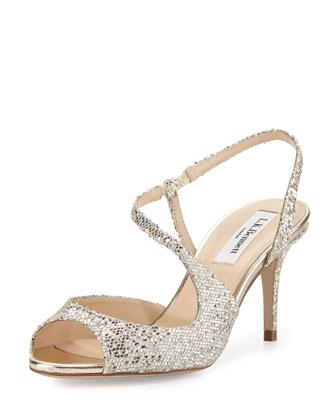 Palmita Asymmetric-Strap Sandal, Platinum