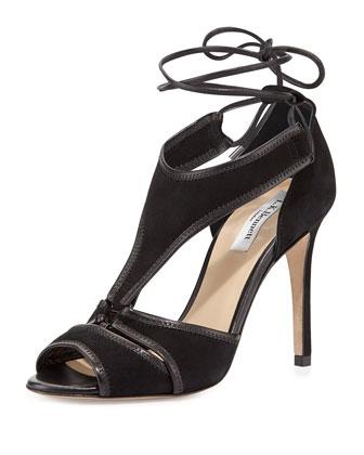 Giselle Suede Ghillie-Tie Sandal, Black