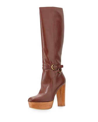 Faux-Leather Knee Platform Boot, Brown