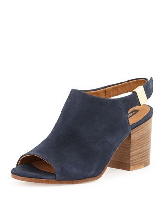 Ancona Suede Open-Toe Slingback, Navy