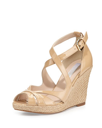 Maggie Patent Espadrille Sandal, Taupe