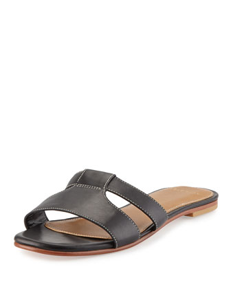 Mesi Leather Sandal Slide, Black