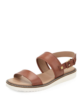 Capri Leather Double-Strap Sandal, Sequoia
