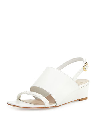 Lise Demi-Wedge Sandal, Optic White