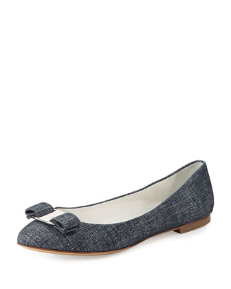 Varina Printed Bow Flat, Oxford Blue