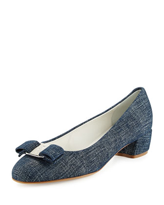 Vara Denim Bow Pump, Oxford Blue