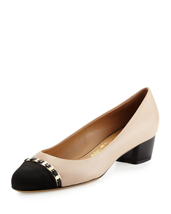 Pim Leather Cap-Toe Pump, New Bisque