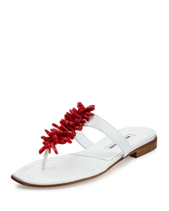 Coralona Flat Leather Sandal, White