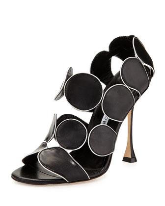 Hairibal Piped-Circle Leather Sandal, Black/White