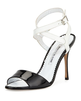 Llonica Bicolor Patent Leather Sandal, Black/White