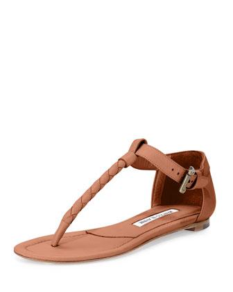 Teti Woven Leather Thong Sandal, Luggage