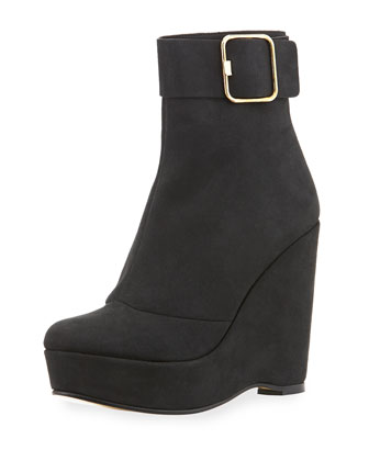 Faux-Suede Wedge Bootie, Black