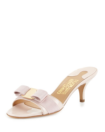Macaroon Bow Slip-On Sandal, Light Pink