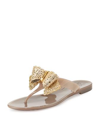 Pandy Pow Jelly Thong Sandal, Greige
