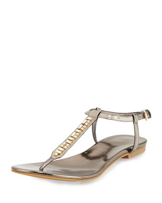 Effie Jewel-Embellished Sandal, Gunmetal
