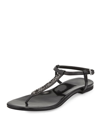 Effie Jewel-Embellished Sandal, Black