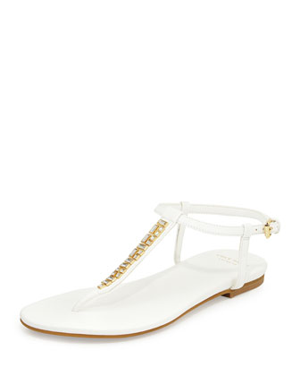Effie Jewel-Embellished Sandal, White