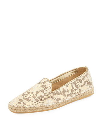 Palermo Lace Espadrille Loafer, Metallic Lace