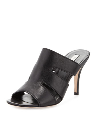 Phira Leather Mule Sandal, Black
