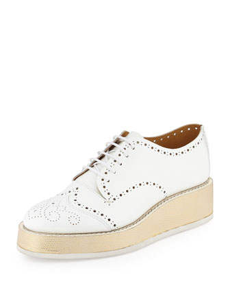 Platform Leather Oxford, White