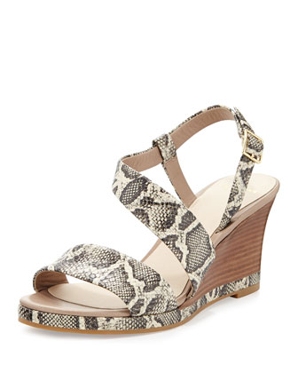 Ravenna Leather Wedge Sandal, Roccia/Snakeprint