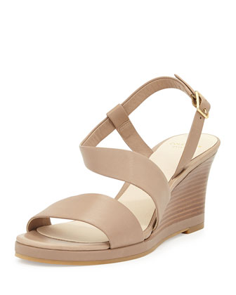 Ravenna Leather Wedge Sandal, Maple Sugar