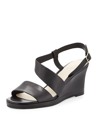 Ravenna Leather Wedge Sandal, Black