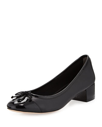 Sarina Leather Cap-Toe Pump, Black