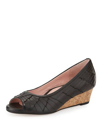 Sadey Woven Peep-Toe Wedge, Black/Multi