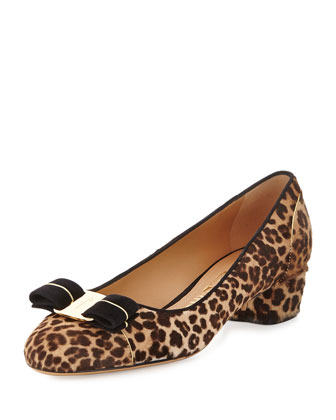 Vara Calf-Hair Bow Pump, Leopard