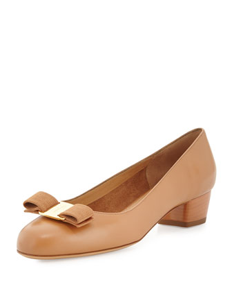 Vara Leather Bow Pump, Sienne