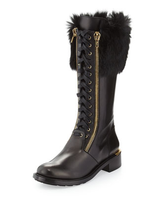Lapo Fur-Cuff Combat Boot, Black