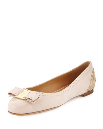 Varina Cap-Toe Ballerina Flat, Macaron