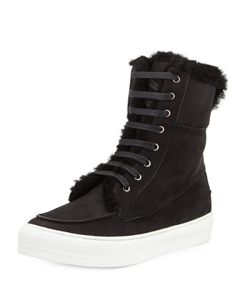Ludwig Shearling Fur-Lined Sneaker Boot, Black (Nero)