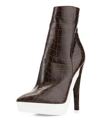 Croc-Embossed Faux-Leather Bootie, Brown