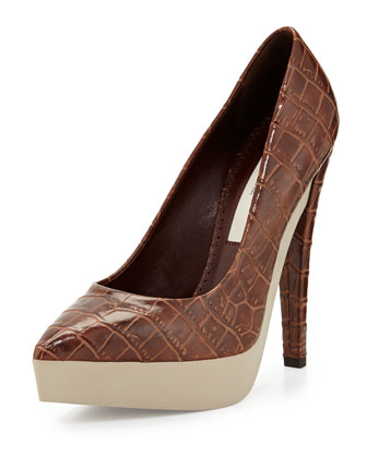 Snake-Embossed Faux-Leather Pump, Tan
