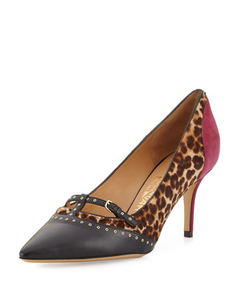Liena Calf-Hair Leopard Pump, Black/Purple