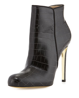 Croc-Embossed Faux-Leather Bootie, Black