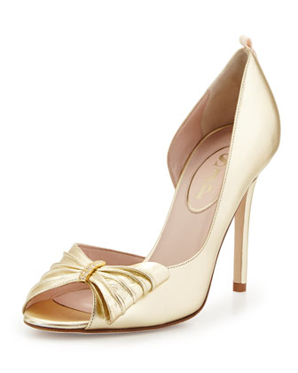 Doris Metallic Half d'Orsay Pump, Gold