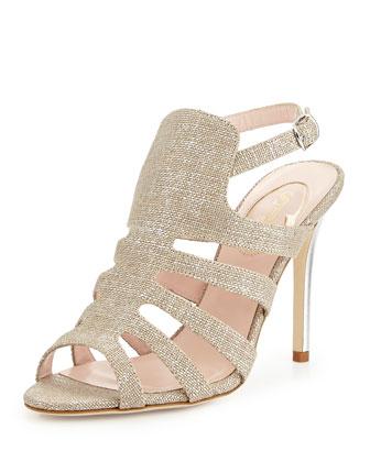 Zofia Metallic Linen Sandal, Gold